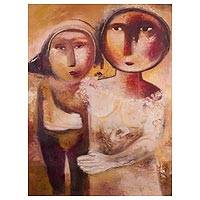 'Mother's Love' - Signed Mother and Child Expressionist Painting from Peru