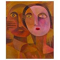 'The Lovers' - Romantic Cubist Style Portrait of a Couple in Love
