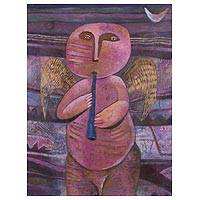 'Night Guardian' - Signed Expressionist Painting of an Angel from Peru