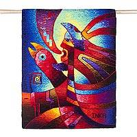 Alpaca blend tapestry, 'Flight of Mother Moon' - Handwoven Alpaca Blend Mythological Tapestry from Peru