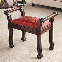 Mohena wood and leather bench, 'Majestic Seat' - Mohena Wood and Red Leather Bench from Peru