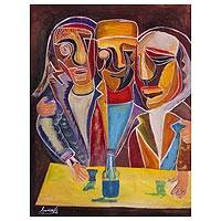'Faces I' - Signed Cubist Painting of Three Men from Peru
