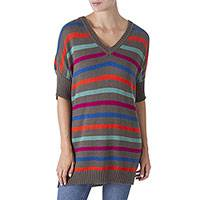 Alpaca blend long tunic sweater, 'Rise Up' - Multi-color Striped Alpaca Blend Long Sweater from Peru