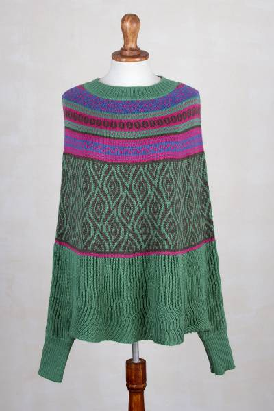Alpaca blend poncho sweater, 'Jade Leaves' - Fair Trade Alpaca Blend Poncho with Leaf Motif