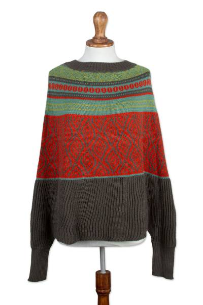 Alpaca Blend Poncho with Lead Grey and Vermilion Patterns