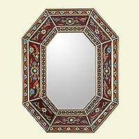 Reverse painted glass wall mirror, 'Colonial Style' - Reverse Painted Glass Mirror with Floral Motifs from Peru