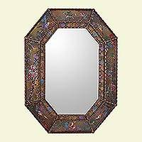 Reverse painted glass mirror, 'Bird Land in Bronze' - Reverse Painted Glass Floral Bird Motif Mirror from Peru