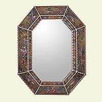 Reverse painted glass mirror, 'Bird Land in Rose Gold' - Reverse Painted Glass Floral Bird Wall Mirror from Peru