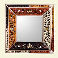 Reverse painted glass wall mirror, 'Colonial Voyage in Rose Gold' - Reverse Painted Glass Mirror with Multicolored Floral Motifs