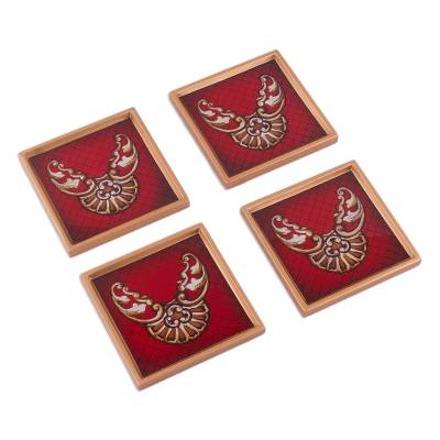 Four Reverse Painted Glass Coasters in Red from Peru