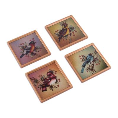 Four Reverse Painted Glass Bird-Themed Coasters from Peru