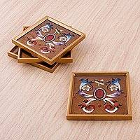 Reverse painted glass coasters, 'Mythic Butterfly' (set of 4) - Four Reverse Painted Glass Coasters with Floral Motifs