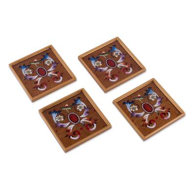 Four Reverse Painted Glass Coasters with Floral Motifs