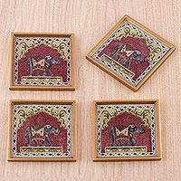 Reverse painted glass coasters, 'Legendary Elephant' (set of 4) - Four Reverse Painted Glass Coasters with Elephants from Peru