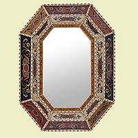 Reverse painted glass wall mirror, 'Verdant Dreams' - Reverse Painted Glass Mirror with Floral Motifs from Peru
