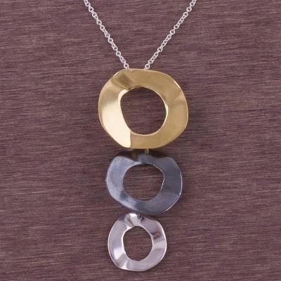 Gold accent sterling silver pendant necklace, 'When the Planets Align' - Gold Accent Sterling Silver Pendant Necklace from Peru
