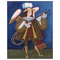'Harquebusier Angel I' - Christian Art Colonial Replica Angel Painting from Peru