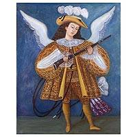 'Harquebusier Angel II' - Peruvian Colonial Style Painting of an Angel in Oils
