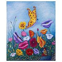 'Freedom' - Signed Original Butterfly and Flower Painting from Peru