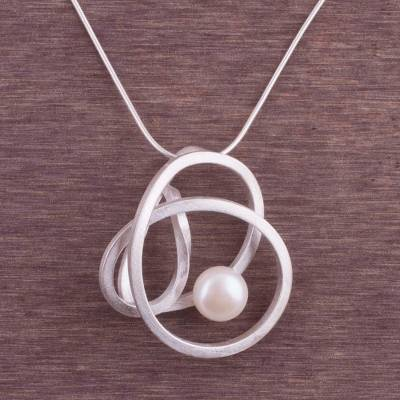 Cultured pearl pendant necklace, 'Amazon Nest' - Abstract Style Sterling Silver White Pearl Pendant Necklace