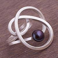 Cultured pearl cocktail ring, 'Dark Amazon Nest' - Abstract Style Sterling Silver Grey Pearl Cocktail Ring