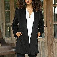 Alpaca blend coat, 'Elegance in Black' - Peruvian Alpaca Wool Blend Open Front Coat in Black