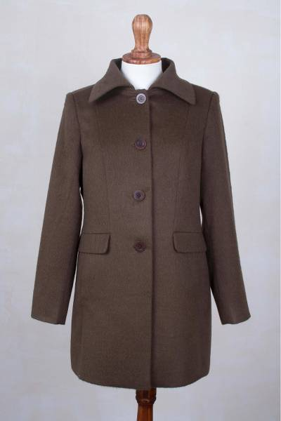 Baby alpaca blend coat, 'Instant Classic in Chestnut' - Extra Soft Baby Alpaca Merino Wool Blend Coat from Peru