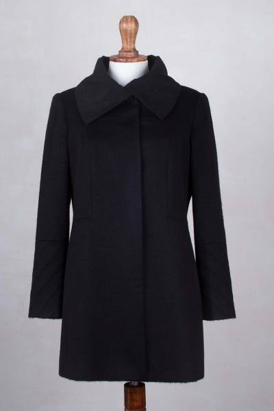 Baby alpaca blend coat, 'Diagonal Details in Black' - Extra Soft Baby Alpaca and Wool Blend Black Coat from Peru