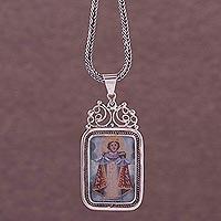 Silver pendant necklace, 'Infant Jesus of Prague' (Peru)