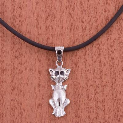 Silver pendant necklace, 'Bow Tie Cat' - 950 Silver and Onyx Cat Pendant Necklace from Peru