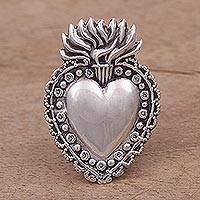Sterling silver brooch, 'Miracle Heart' - Handcrafted Sterling Silver Flaming Heart Brooch from Peru