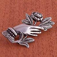 Sterling silver brooch, 'Handheld Rose' (Peru)