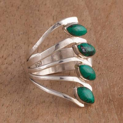silver shop rings return - Chrysocolla and 950 Silver Leaf Multi Stone Ring from Peru
