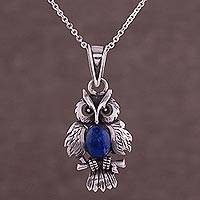 Lapis lazuli pendant necklace, 'Blue Owl' - Lapis Lazuli and 950 Silver Pendant Owl Necklace from Peru