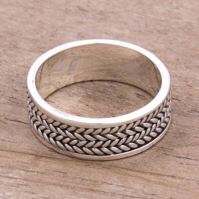 silver and pearl ring - Sterling Silver Unisex Band Ring from Peru