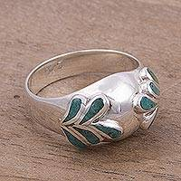 Chrysocolla domed ring, 'Touch of Green' - Chryscolla and Silver Domed Ring with Leaf Motifs from Peru