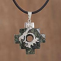 Serpentine pendant necklace, 'Incan Trio' - Andean Cross Serpentine Pendant Necklace from Peru