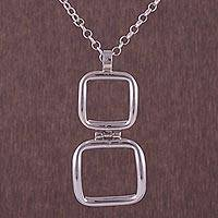 Sterling silver pendant necklace, 'Square Window' - 925 Sterling Silver Square-Shaped Pendant Necklace from Peru