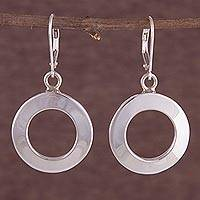 Sterling Silver Dangle Earrings Circle Windows (peru)