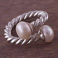 Cultured pearl wrap ring, 'Endless Rope' - Sterling Silver and Cultured Pearl Wrap Ring from Peru