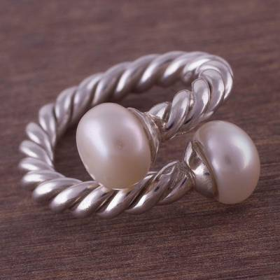 20 inch pearl necklace - Sterling Silver and Cultured Pearl Wrap Ring from Peru