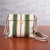 Cotton sling bag, 'Fantasy Stripes in Natural' - Handcrafted Striped Natural White Cotton Sling from Peru