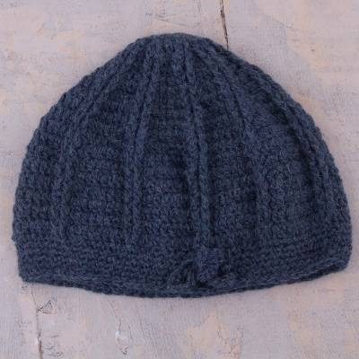 100% alpaca hat, 'Denim Softness' - Hand-Crocheted Alpaca Hat in Denim from Peru