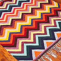 Wool area rug, 'Colorful Zigzag' (4x5) - 4x5 Colorful Handwoven Wool Area Rug from Peru