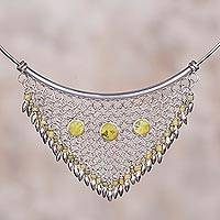 Serpentine collar necklace, 'Euphoric Green' - Serpentine and Sterling Silver Collar Necklace from Peru