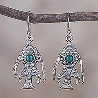 Chrysocolla dangle earrings, 'Surreal Fish' - Chrysocolla and Sterling Silver Fish Earrings from Peru