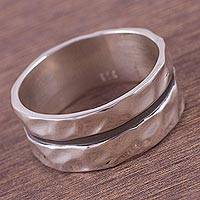 Sterling silver band ring, 'Glittering Ripples' - Artisan Crafted Sterling Silver Double Band Ring from Peru