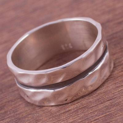 Artisan Crafted Sterling Silver Double Band Ring from Peru