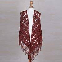 100% alpaca shawl, 'Russet Flowers' - Hand-Crocheted 100% Alpaca Floral Shawl in Russet from Peru