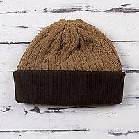 100% alpaca hat, 'Warm Braids in Tan' - Knit 100% Alpaca Hat in Tan and Mahogany from Peru